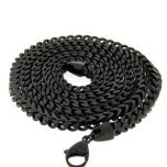 Black Stainless Steel Franco Chain 36 Inches, 6mm Thick #6B-36