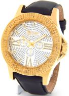 King Master Mens Gold Tone Case Leather Band Watch #KM-554