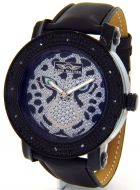 King Master Tiger Panther Diamond Watch Mens Leather Band