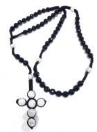 Black Onyx Beaded Mens Rosary Chain 30 Inches 10mm K106