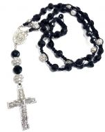 Black Onyx Beaded Mens Rosary Chain 30 Inches 12mm K701