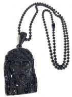 Black Steel Beaded Ball Chain with Jesus Piece Mens 30 Inches 5mm K705