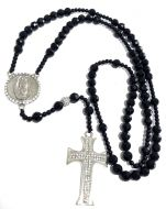 Black Onyx Beaded Mens Rosary Chain 30 Inches 8mm K706