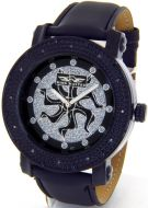 King Master Mens Black Case Leather Band Watch #KM-560